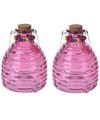 2x wespenvangers van roze glas 18 cm