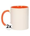 2x wit met oranje blanco mok