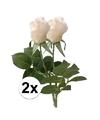 2x witte roos kunstbloemen 35 cm