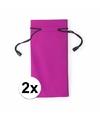 2x zonnebrillen etui van stof roze 18 cm