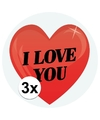 3 x cadeaustickers i love you hart 9 cm