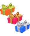 3 x gekleurde cadeaudoosjes 10 cm met gekleurde strik
