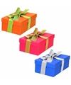3 x gekleurde cadeaudoosjes 15 cm met gekleurde strik