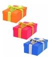 3 x gekleurde cadeaudoosjes 17 cm met gekleurde strik
