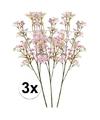 3 x roze kroonkruid kunstbloemen tak 68 cm
