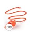 30x oranje fluitje aan koord