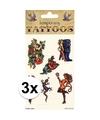 3x biker tattoos 6 stuks