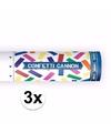 3x confetti kanon kleuren mix 20 cm