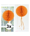 3x decoratie bol oranje 30 cm