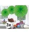 3x decoratie waaier lime groen 45 cm