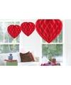 3x hangende hartjes deco bollen rood 30 cm
