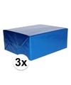 3x holografische blauw metallic hobbyfolie 70 x 150 cm
