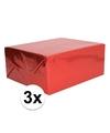3x holografische rood metallic hobbyfolie 70 x 150 cm