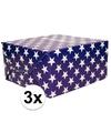 3x inpakpapier blauw met sterren 200 x 70 cm op rol