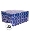 3x inpakpapier donkerblauw met patroon 200 x 70 cm op rol