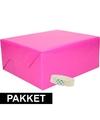 3x inpakpapier fuchsia roze met rolletje plakband