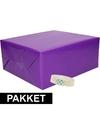 3x inpakpapier paars met rolletje plakband