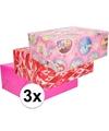 3x inpakpapier pakket voor meisjes cadeautjes