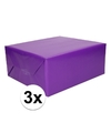 3x kadopapier paars 200 x 70 cm op rol