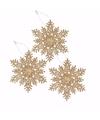 3x kersthanger sneeuwvlok goud glitter type 3