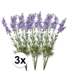3x licht paarse lavendel kunstbloemen 40 cm