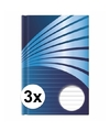 3x luxe schrift a5 formaat blauwe harde kaft