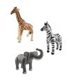 3x opblaasbare dieren zebra olifant en giraffe