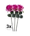 3x paars roze rozen simone kunstbloemen 45 cm