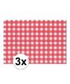 3x placemat rood wit geblokt 43 x 30 cm