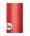 3x rode tule stof 15 cm breed