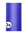3x rollen tule stof blauw 0 15 x 9 meter