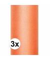3x rollen tule stof oranje 0 15 x 9 meter