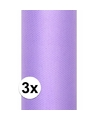 3x rollen tule stof paars 0 15 x 9 meter