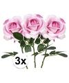 3x roze rozen carol kunstbloemen 37 cm