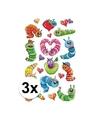 3x rupsen 3d stickers op vel