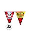 3x sarah 50 jaar vlaggenlijn waarschuwingsbord 10mtr