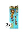 3x stickervel 3d madagascar dieren
