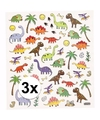 3x stickervel dinosaurussen metallic
