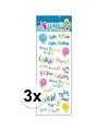 3x stickervel happy birthday