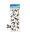 3x stickervellen roofvogels