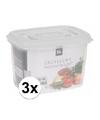 3x transparant vershoudbakjes 600 ml