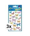 3x vlinder stickers 3 vellen