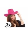 3x voordelige roze toppers cowboy hoeden met stiksels
