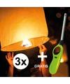 3x wensballon 50 x 100 cm incl gratis aansteker