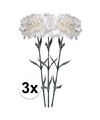 3x witte anjer kunstbloemen tak 65 cm