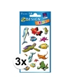 3x zeedieren stickers 2 vellen
