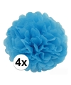 4 blauwe decoratie pompoms 35 cm