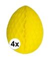 4 decoratie paaseieren geel 30 cm