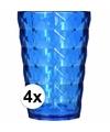 4 drink glazen van helder plastic blauw 350 ml