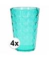 4 drink glazen van helder plastic groen 350 ml